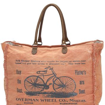 Myra Bag Bicycle Large Up-cycled Canvas Weekender S-0956