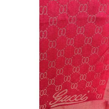 VONEF3L Gucci Large Women's GG Cashmere Scarf / Wrap / Shawl - Red n Gold - USED