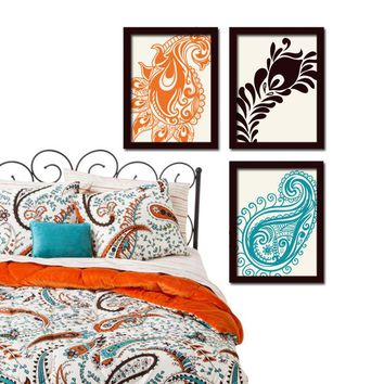 Paisley Wall Art, Paisley CANVAS or Prints Peacock Feather Turquoise Brown Floral Design Set of 3 Bedroom Bathroom Home Decor Wall Decor