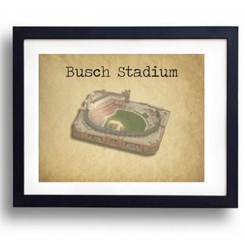 Busch Stadium St Louis Cardinals Baseball Vintage Look Man Cave Print Art Gift For Him