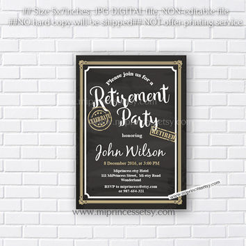Retirement Invitations,  Retirement party Invitation,  Retirement Celebration retro vintage Invite, chalkboard blackboard design- card 562