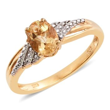 Brazilian Citrine Platinum & 14K YG Over Sterling Silver Ring