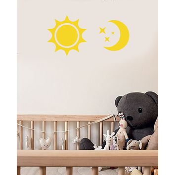 Vinyl Wall Decal Cartoon Sun Moon Stars Decor For Nursery Stickers (3718ig)