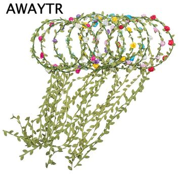 AWAYTR 3Pcs/Lot Paper Floral Headband Boho Style Flower Crown for Women Wreath Wedding Floral Garland Girls Hair Accessories