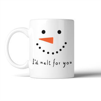 I'd Melt For You  Mug Snowman Face Mugs Cute Christmas Gift