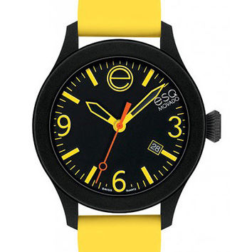 ESQ Movado One Black & Yellow Strap Watch - Silicone-Wrapped Steel Case - Date