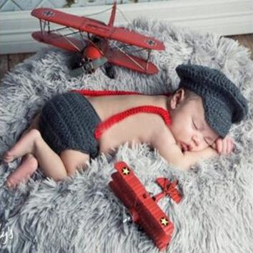 Newborn Baby Photography Props Hat Pant Clothing Set Infant Knit Crochet Costume Soft Outfits+Pants Baby Clothing Photo Wearing