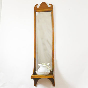 Large Vintage Mirror, Early American Hall Mirror, Mirror with Shelf, Long Wall Mirror, Tall Mirror, Antique Mirror, Wooden Mirror