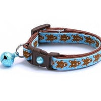 Christmas Cat Collar - Gingerbread Cookies on Blue - Small Cat / Kitten or Large(standard) Size Collar