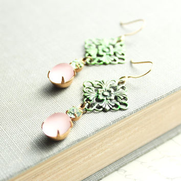 Blush Pink Earrings Vintage Glass Green by apocketofposies on Etsy