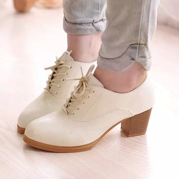 Elegant Nude Heels Lace Up Single Shoes