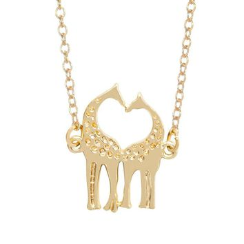 Jisensp Handmade Double Loving Giraffe Necklaces For Women Lovers Romantic Colar Feminino Fashion Jewelry Vanlentine Day Gifts