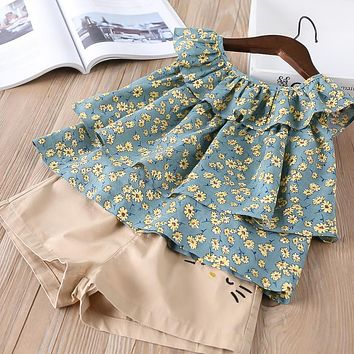 New baby Girl clothes Children Summer Clothing tutu fly sleeve shirt+shorts Kids sets Clothes Casual suits