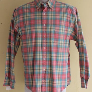 90's gap pretty in pink green and yellow plaid button up