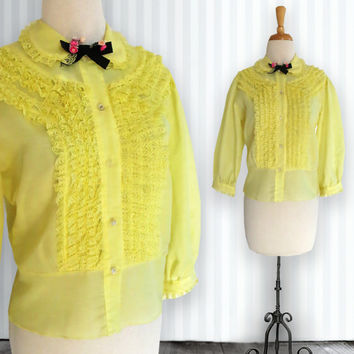 Vintage Yellow Prairie Blouse. Cotton. Light. Transparent Shirt. Sheer. Clear Buttons. Frilly. Lacy. Feminine. Rockabilly. Hipster.