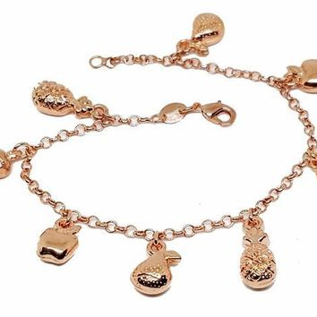 "1-0727-g1 18kt Rose Gold Layered Fruit Charms Bracelet. 7-1/2"" length, 1/2"" charms."