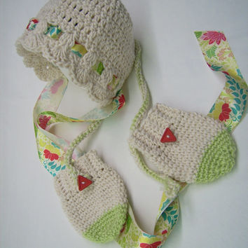 Crocheted,Baby, Bonnet & Mittens,Designer Ribbon, Red, Lime Green, Turquoise, Winter, Autumn