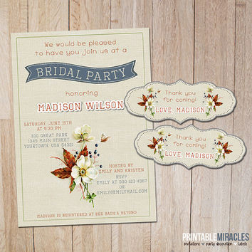 Bridal shower invitation / Printable bridal party invitation / Digital wedding shower invite card