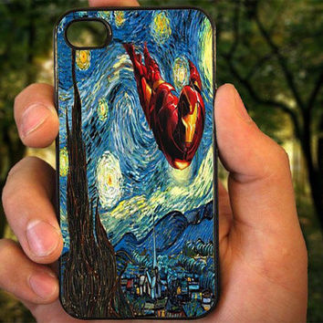 Iron Man Starry Night case for iPhone 4 4S 5 5C 5 5S 6 Plus,Samsung Galaxy s3 s4 s5,Note 3