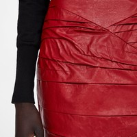 GATHERED FAUX LEATHER MINI SKIRT