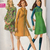 Mod Retro Sewing Pattern 1960s Simplicity Mini Dress A-line Jumper Back Zipper Long Sleeves or Sleeveless High Neck Bust 36