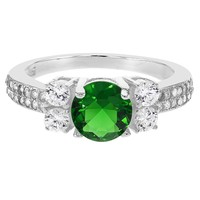 925 Sterling Silver CZ & Green Simulated Emerald May Birthstone Lady Ring SZ 8