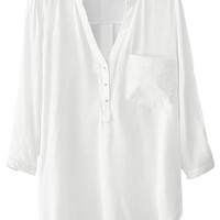 ROMWE | V-neck Pocketed White Shirt, The Latest Street Fashion