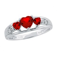 Created Ruby Heart Sterling Silver Diamond Accent Birthstone Ring