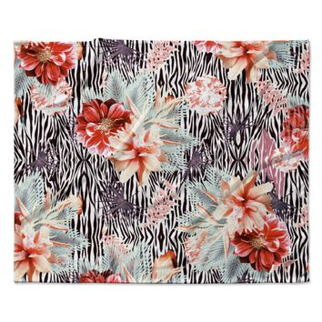 "Nika Martinez ""Tropical Fusion"" Red Floral Fleece Throw Blanket"