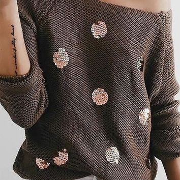 Khaki Patchwork Sequin Irregular Round Neck Casual Pullover Sweater