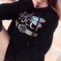 """""""Gucci"""" Women Casual Fashion Letter Dragonfly Pattern Embroidery Long Sleeve Hooded Sweater Tops"""