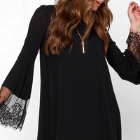Glamorous Night Shift Black Long Sleeve Lace Dress