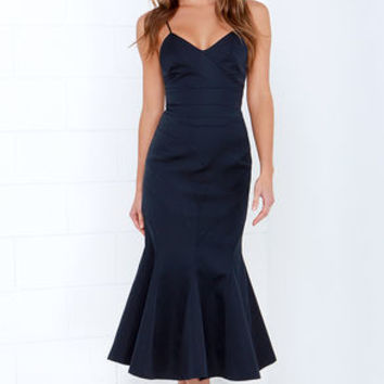 Keepsake Crossed the Line Midnight Blue Dress