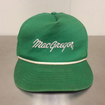 Vintage 80's MacGregor Green Snapback Hat Made In USA Sportswear Golf Football Hipster Style Corded