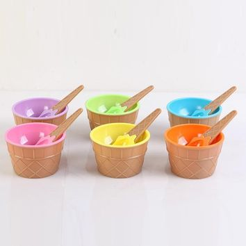 Candy Color Ice Cream Bowl With A Spoon Creative Ice Cream Bowl Egg Tart Bowl wngspC-171102090N44