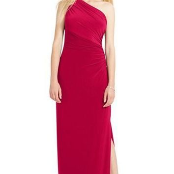 Women's Lauren Ralph Lauren Ruched One-Shoulder Jersey Gown,