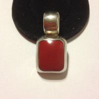 Red Carnelian Sterling Pendant Sterling Silver 925 Mexican Mexico 4 Necklace Vintage Southwestern Jewelry Birthday Holiday Valentine's Gift