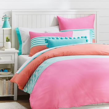 Nantucket Stripe Duvet Cover + Sham, Pink/Coral