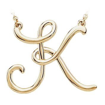 Script initial Necklace in 14k Yellow Gold, Letter K