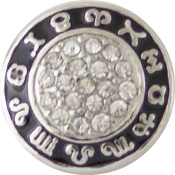 "Chunk Snap Charm Rhinestone Center Zodiac Symbols 20 mm, 3/4"" diameter"