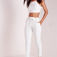 Missguided - Petite Tie Belt Crepe High Waist Trousers White