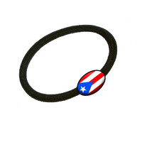 Flag of Puerto Rico Hair Band Tie Elastic Ponytail Holder