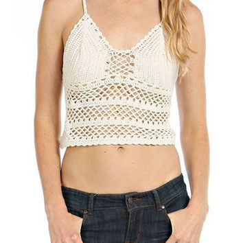 Crochet Cut-Out V-Neck Spaghetti Strap Bralet Top