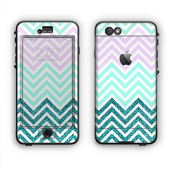 The Light Teal & Purple Sharp Glitter Print Chevron Apple iPhone 6 LifeProof Nuud Case Skin Set