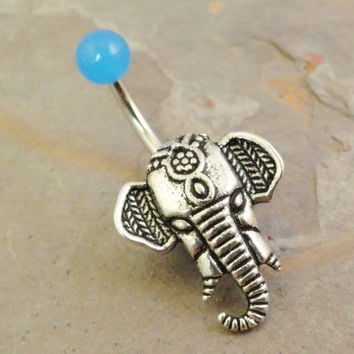 Light Blue Elephant Belly Button Ring by MidnightsMojo on Etsy
