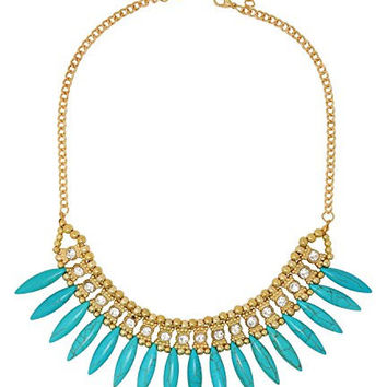 Persian Style Necklace with Turquoise Shards & Crystals