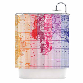 "Catherine Holcombe ""Rainbow World Map"" Multicolor Travel Shower Curtain"