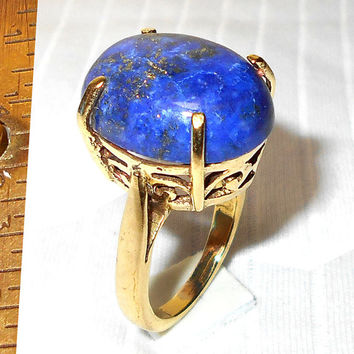 Lapis Lazuli Ring - 18k Gold Plated Ring - Lapis Lazuli Jewelry - Oval Gemstone Ring - Prong Set Ring - Handmade Ring, Bridesmaids Ring