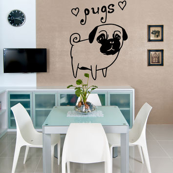 Vinyl Wall Decal Sticker Pugs #OS_MB504
