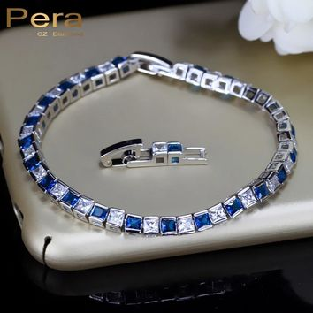 Pera 925 Sterling Silver Women Jewelry Austrian Dark Blue Big Square Crystal Royal Bracelet And Bangle For Christmas Gift B026
